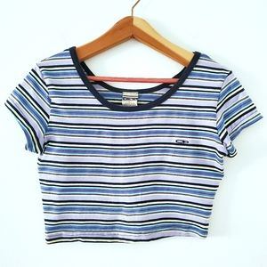 OP Blue and Yellow Striped Knit Crop Top Tee